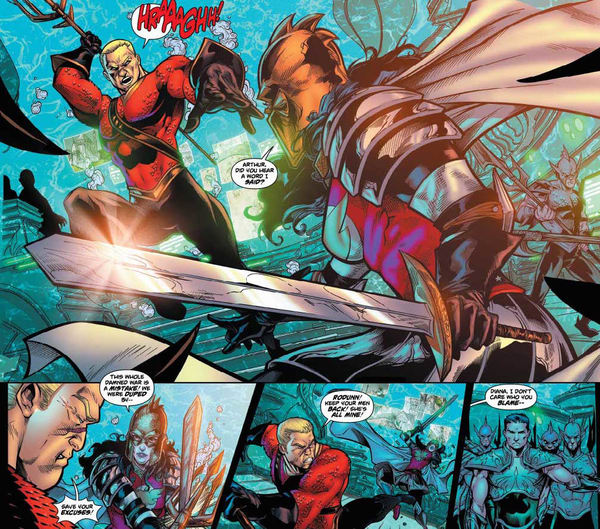 aquaman and wonder woman battle in flashpoint dc
