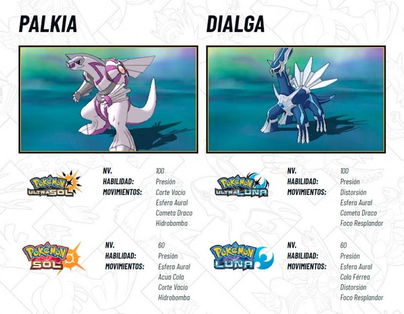 dialga palkia legendarios pokemon 7 gen