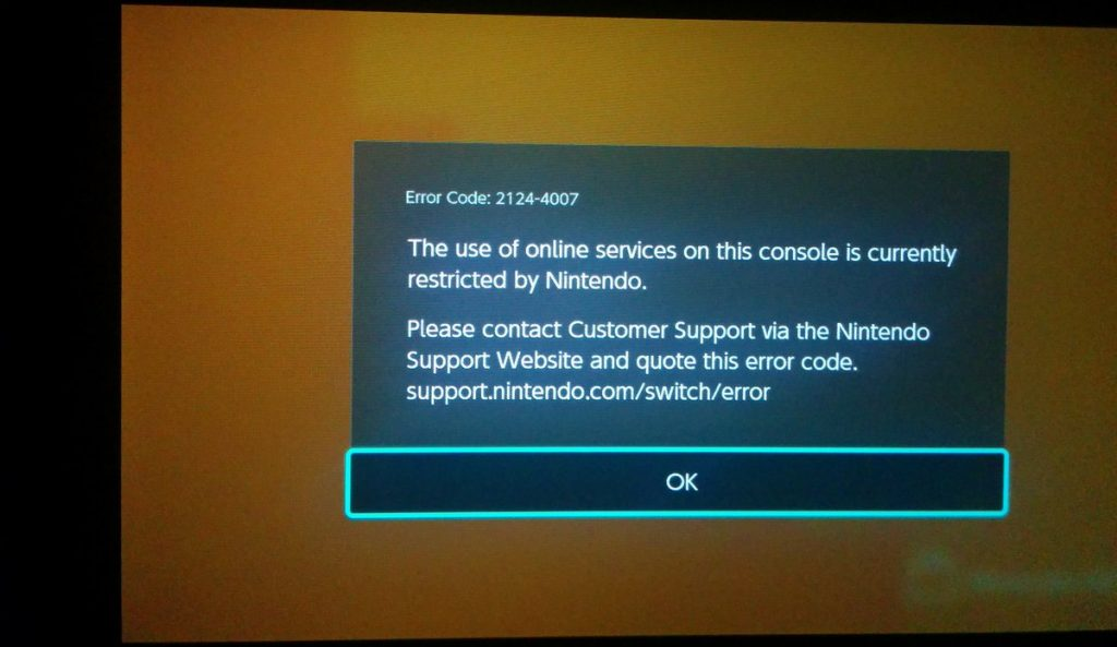 error baneo nintendo switch
